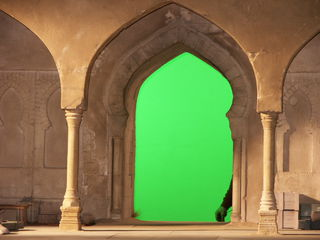 Detail of the fortress with green screen.