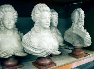 Busts of Marie Antoinette. Sculpted by Sue Dorrington and cast and painted as breakaways.