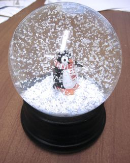 A penguin in a snowglobe
