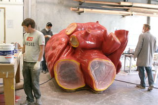 The heart after fiberglassing, gel-coating and priming.